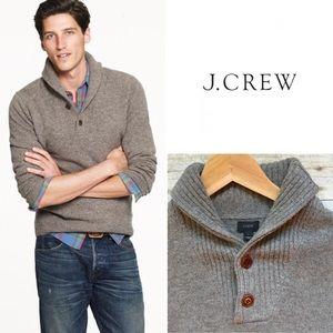 NWT J. Crew Lambswool Shawl Collar Pullover Sweater Sz M
